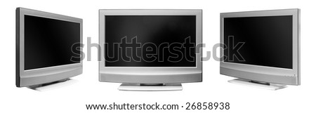 The flat TV on a white background - stock photo
