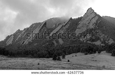 The Flatirons of Boulder Colorado - stock photo