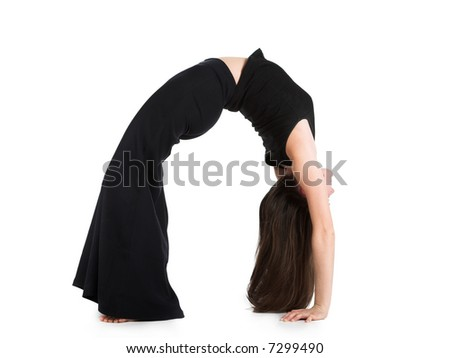 The flexible beautiful girl makes  gymnastics