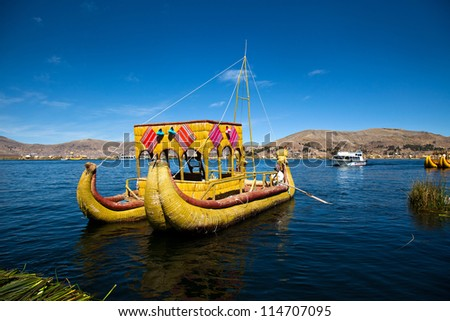 The floating and tourist  Islands of lake Titicaca Puno Peru South America - stock photo