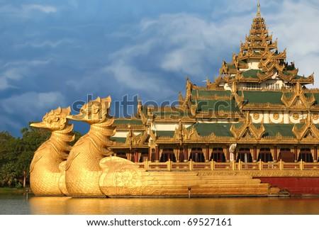 The Floating Barge, Karaweik Hall, Yangon, Burma - stock photo
