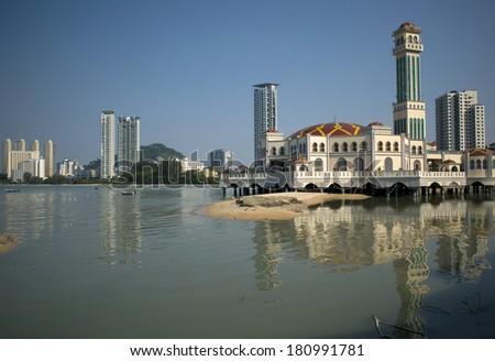 The floating mosque, Tanjung Bungah, Penang, Malaysia - stock photo
