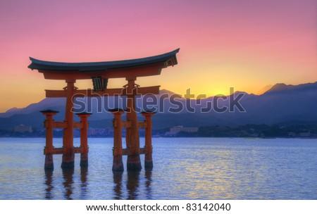 The Floating Otorii gate at Miyajima, Japan. - stock photo