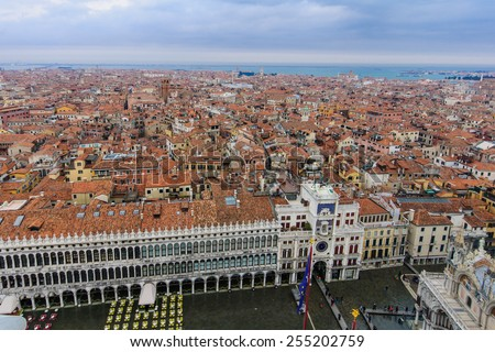 The flooded Piazza San Marco and Venice roofs, in Venice, Veneto, Italy - stock photo