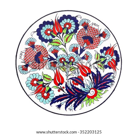 the floral decorative plate on a white background - stock photo
