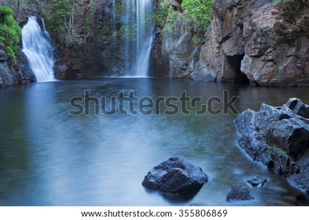 The Florence Falls in Litchfield National Park, Northern Territory, Australia. Photographed at dawn. - stock photo