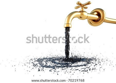 the flow of oil pouring from the golden crane. isolated on white. with clipping path.