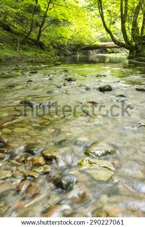 the flow of the river, japan oita-prefecture kurodake - stock photo