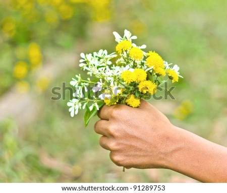 the flowers in the man hand for everyone - stock photo