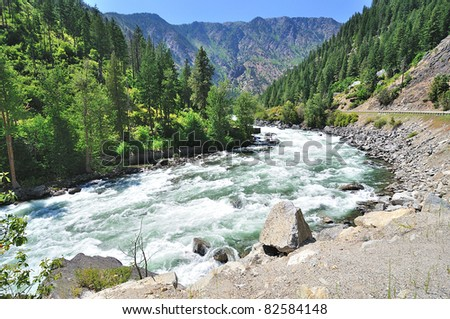 The flowing wenatchee river - stock photo