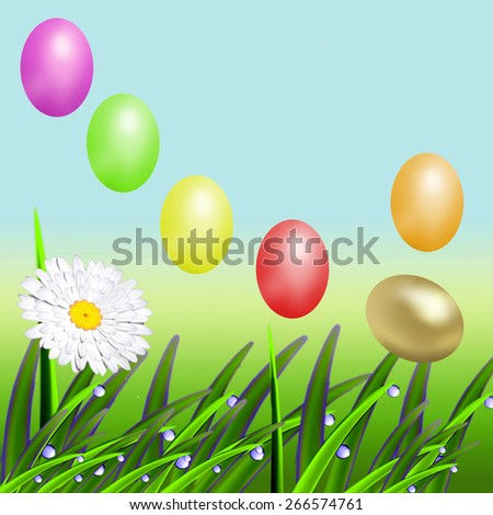 The flying color Easter eggs against the nature - stock photo