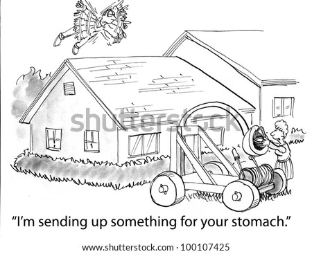 "The flying man has a queasy stomach so his wife says, ""I'm sending up something for your stomach""."