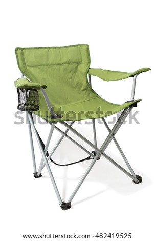 The folding chair is isolated on a white background