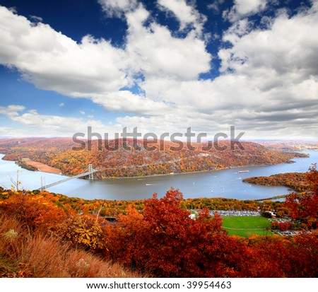 The foliage scenery at Hudson River region in New York State - stock photo