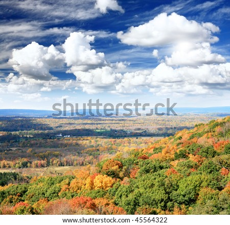 The foliage scenery from a highway overlook in New Jersey - stock photo
