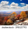The foliage scenery from the top of Bear Mountain in New York State - stock photo
