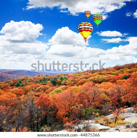 The foliage scenery from the top of Bear Mountain in New York State