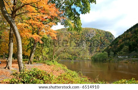 The foliage scenery in Delaware water gap recreation area - stock photo