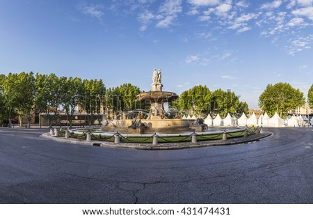 The Fontaine de la Rotonde fountain with  roundabout in Aix-en-Provence, France - stock photo