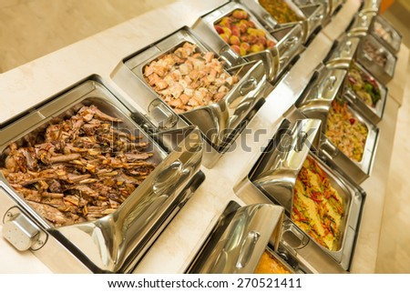 The food buffet in restaurant. Close up - stock photo