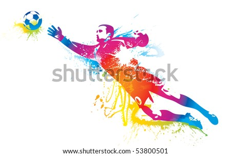 The football goalkeeper catches a ball. - stock photo