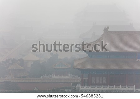 The Forbidden City shrouded by heavy smog. Beijing, China