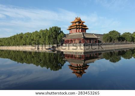 The Forbidden City turrets - stock photo