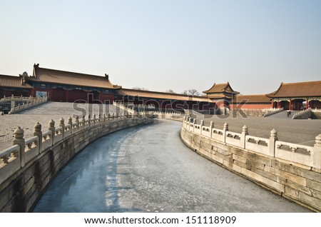 The Forbidden City was the Chinese imperial palace from the Ming Dynasty to the end of the Qing Dynasty - stock photo
