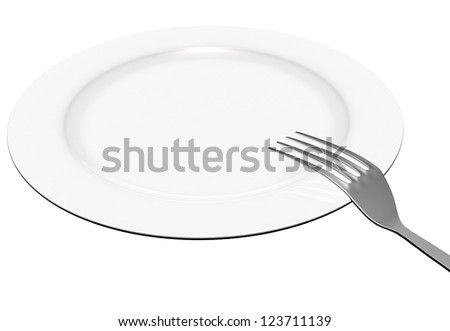 The fork lies on a plate on the white isolated background - stock photo