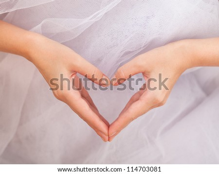 The form of heart shaped by female hands on a white background - stock photo