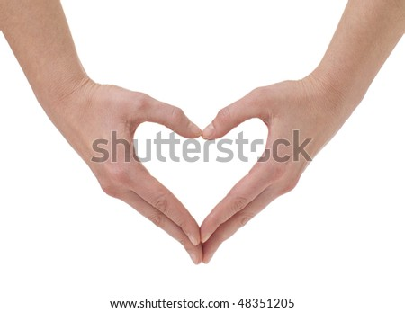 The form of heart shaped by hands on a white background - stock photo