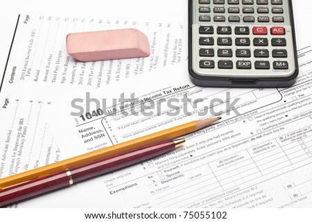 The Form 1040, U.S. Individual Income Tax Return, is the starting form for personal (individual) Federal income tax returns - stock photo