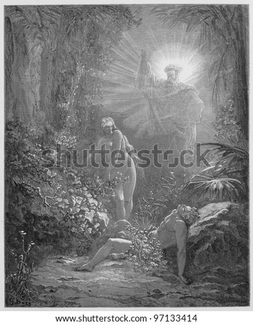 The formation of Eve - Picture from The Holy Scriptures, Old and New Testaments books collection published in 1885, Stuttgart-Germany. Drawings by Gustave Dore. - stock photo