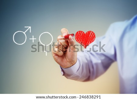 The formula for love a man drawing male and female gender symbols and a red heart - stock photo