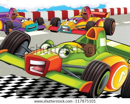 The formula race - illustration for the children - stock photo