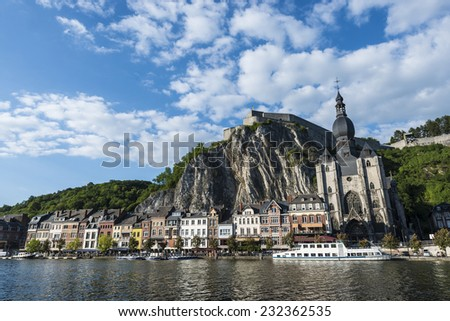 The fortified Citadel was first built in the 11th century to control the Meuse valley in Dinant, Belgium - stock photo
