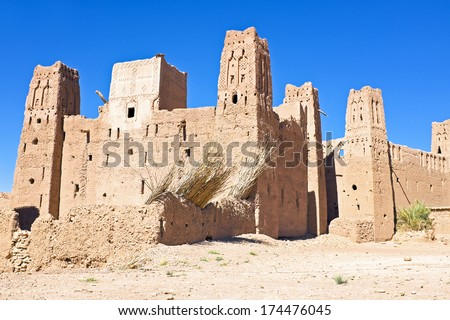 The fortified town of Ait ben Haddou near Ouarzazate Morocco on the edge of the sahara desert in Morocco. Famous for its use as a set in many films such as Lawrence of Arabia, Gladiator - stock photo