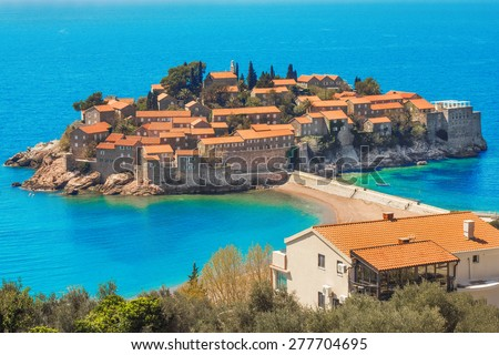 The fortified village of St Stefan, Montenegro - stock photo