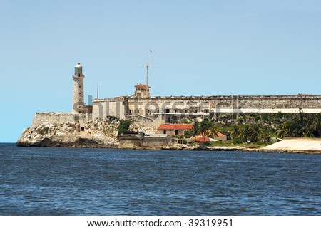 The fortress of El Morro in the bay of Havana in a clear day