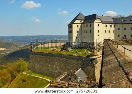 The fortress of Koenigstein and its environment near Dresden, in Saxon Switzerland, Germany - stock photo