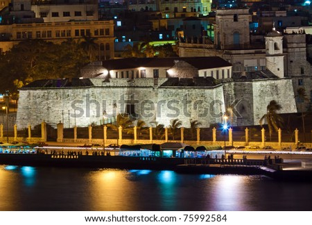 The fortress of La Fuerza in Old Havana illuminated at night - stock photo