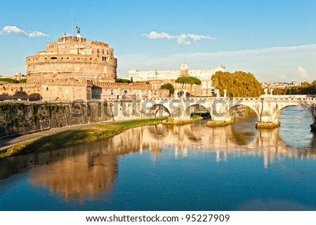 The fortress of Sant'Angelo and its reflection in river Tevere, Rome. - stock photo