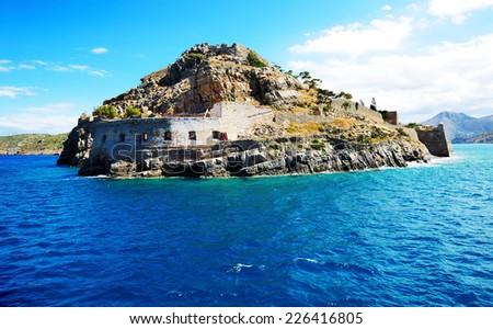 The fortress on Spinalonga Island, Crete, Greece - stock photo