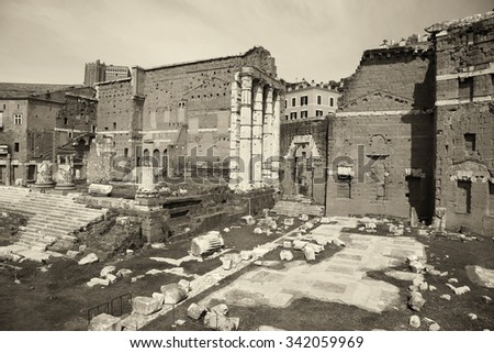 The Forum of Augustus (Foro di Augusto) with the temple in Rome, Italy
