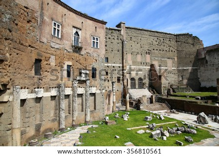The Forum of Augustus (Foro di Augusto) with the temple in Rome, Italy - stock photo