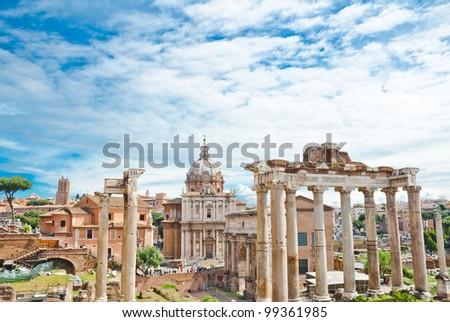 The Forum Roman in Rome - stock photo