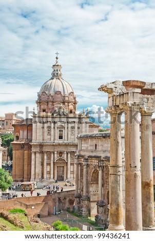 The Forum Roman in Rome, Italy - stock photo