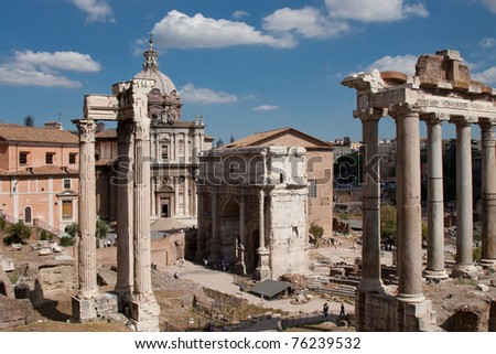 The Forum Romanum in Rome - stock photo