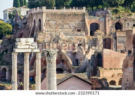 The Forum Romanum in Rome, Italy  - stock photo