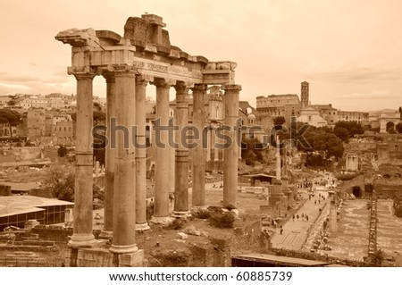 The Forum Romanum in Rome, Italy, The ruins of several temples - stock photo